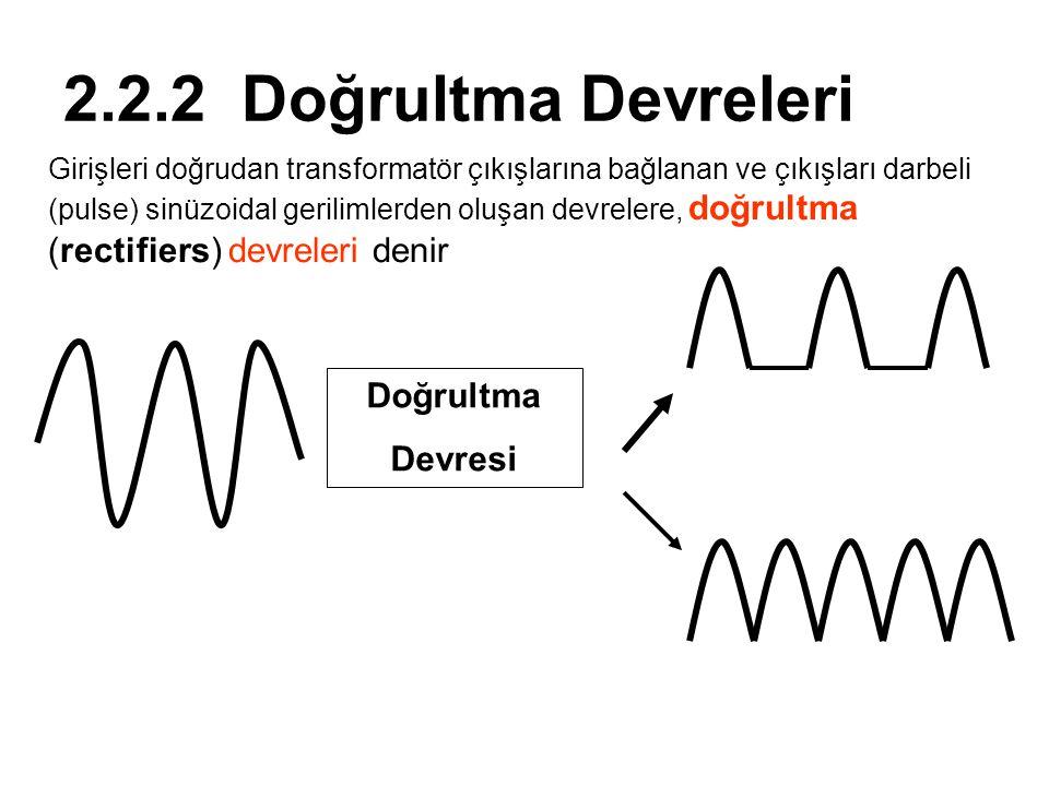 2.2.2 Doğrultma Devreleri Girişleri doğrudan transformatör çıkışlarına bağlanan ve çıkışları darbeli (pulse) sinüzoidal gerilimlerden oluşan devrelere