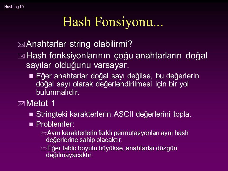 Hashing 10 Hash Fonsiyonu... * Anahtarlar string olabilirmi? * Hash fonksiyonlarının çoğu anahtarların doğal sayılar olduğunu varsayar. n Eğer anahtar
