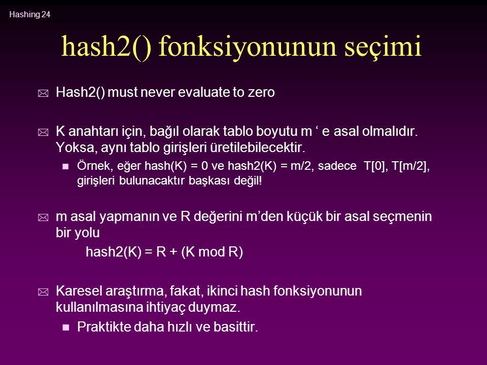 Hashing 24 hash2() fonksiyonunun seçimi * Hash2() must never evaluate to zero * K anahtarı için, bağıl olarak tablo boyutu m ' e asal olmalıdır. Yoksa
