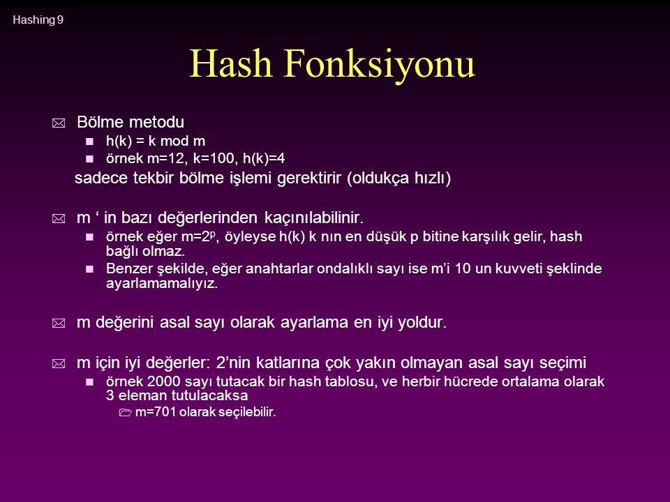Hashing 9 Hash Fonksiyonu * Bölme metodu n h(k) = k mod m n örnek m=12, k=100, h(k)=4 sadece tekbir bölme işlemi gerektirir (oldukça hızlı) * m ' in b