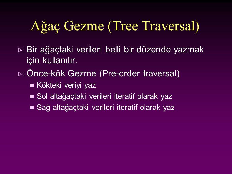 Ağaç Gezme (Tree Traversal) * Bir ağaçtaki verileri belli bir düzende yazmak için kullanılır. * Önce-kök Gezme (Pre-order traversal) n Kökteki veriyi