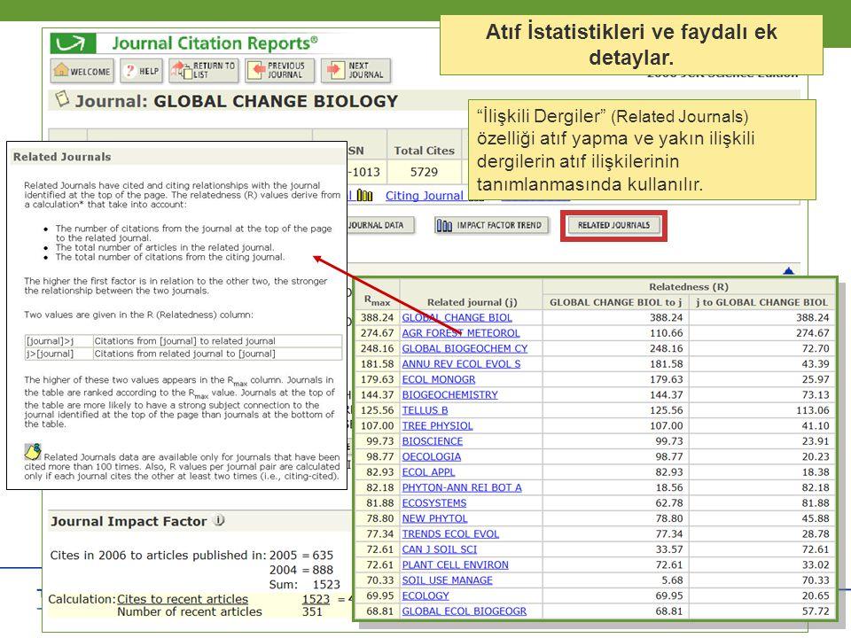 """Copyright 2006 Thomson Corporation 13 Copyright 2006 Thomson Corporation 13 Atıf İstatistikleri ve faydalı ek detaylar. """"İlişkili Dergiler"""" (Related J"""