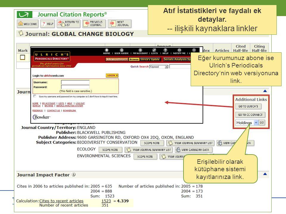 Copyright 2006 Thomson Corporation 14 Copyright 2006 Thomson Corporation 14 Atıf İstatistikleri ve faydalı ek detaylar. -- ilişkili kaynaklara linkler
