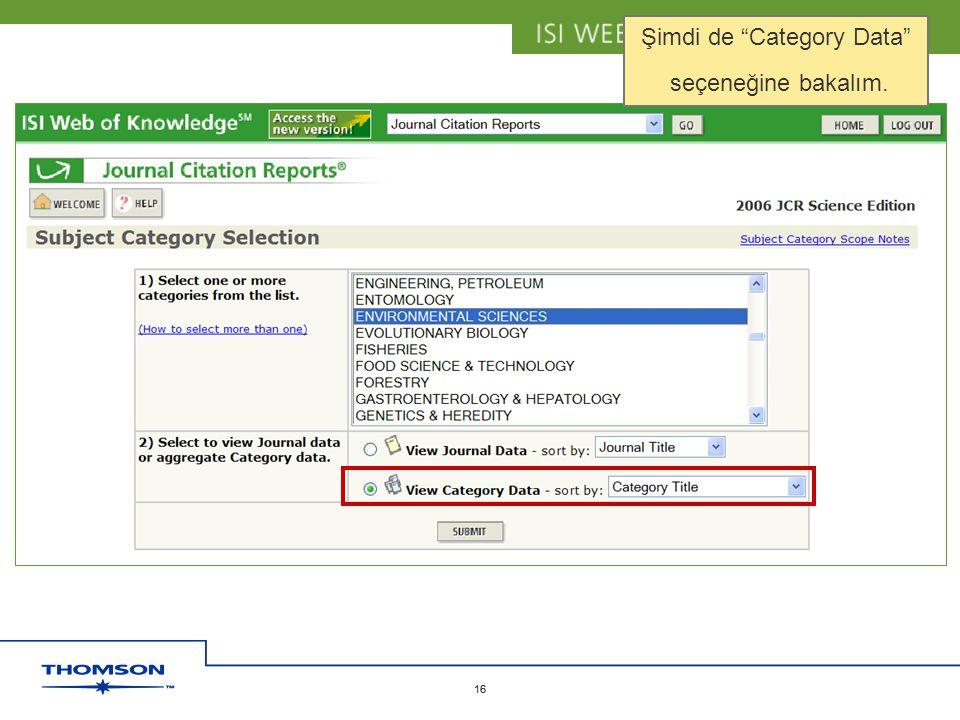 "Copyright 2006 Thomson Corporation 16 Copyright 2006 Thomson Corporation 16 Şimdi de ""Category Data"" seçeneğine bakalım."