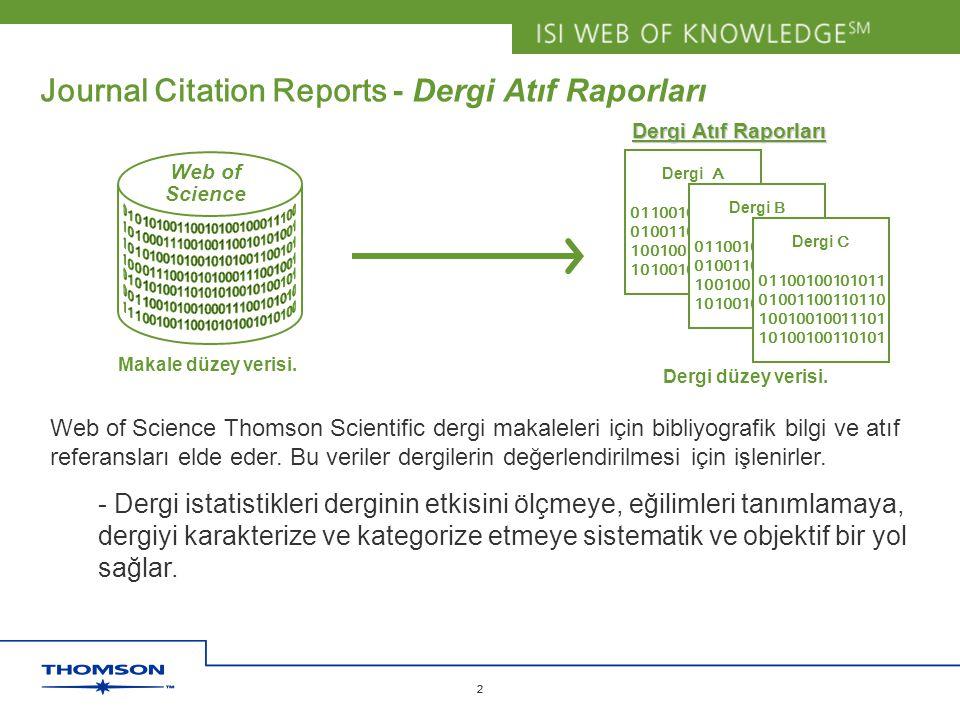 Copyright 2006 Thomson Corporation 2 2 Journal Citation Reports - Dergi Atıf Raporları Web of Science Makale düzey verisi. Dergi A 01100100101011 0100