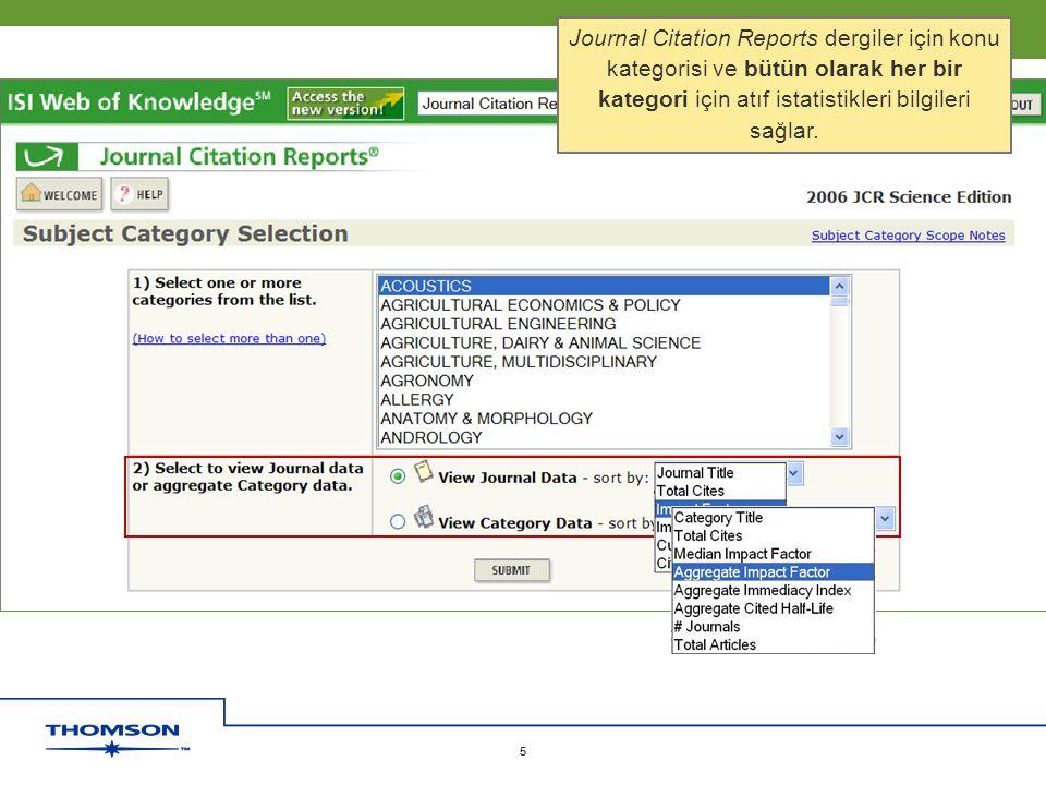 Copyright 2006 Thomson Corporation 5 5 Journal Citation Reports dergiler için konu kategorisi ve bütün olarak her bir kategori için atıf istatistikler