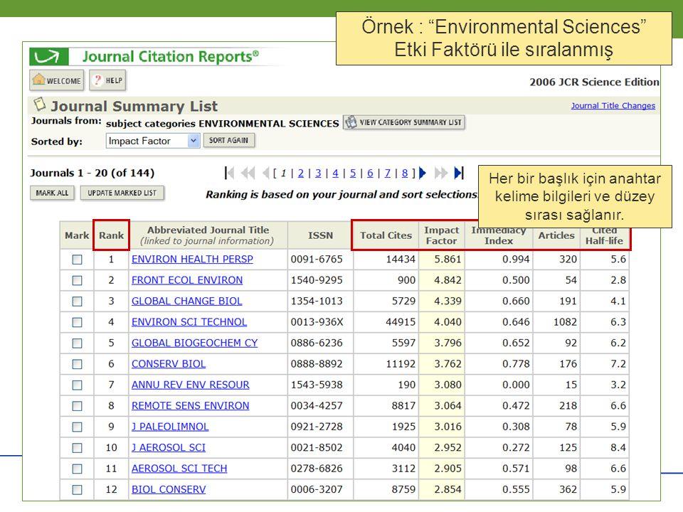 """Copyright 2006 Thomson Corporation 6 6 Örnek : """"Environmental Sciences"""" Etki Faktörü ile sıralanmış Her bir başlık için anahtar kelime bilgileri ve dü"""