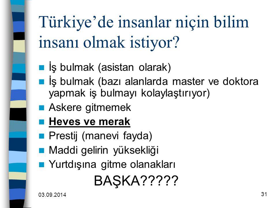 03.09.2014 31 Türkiye'de insanlar niçin bilim insanı olmak istiyor? İş bulmak (asistan olarak) İş bulmak (bazı alanlarda master ve doktora yapmak iş b