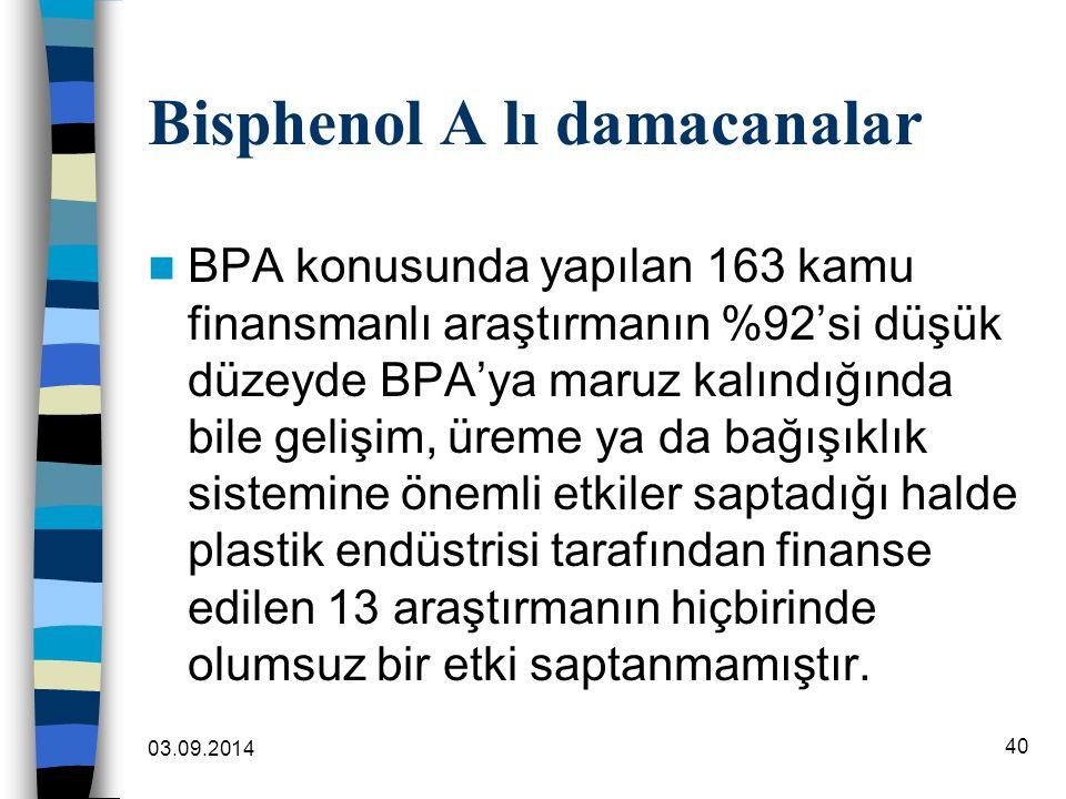 Bisphenol A lı damacanalar BPA konusunda yapılan 163 kamu finansmanlı araştırmanın %92'si düşük düzeyde BPA'ya maruz kalındığında bile gelişim, üreme