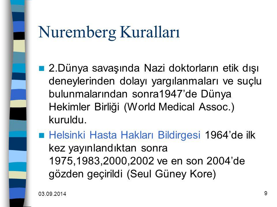 03.09.2014 9 Nuremberg Kuralları 2.Dünya savaşında Nazi doktorların etik dışı deneylerinden dolayı yargılanmaları ve suçlu bulunmalarından sonra1947'd