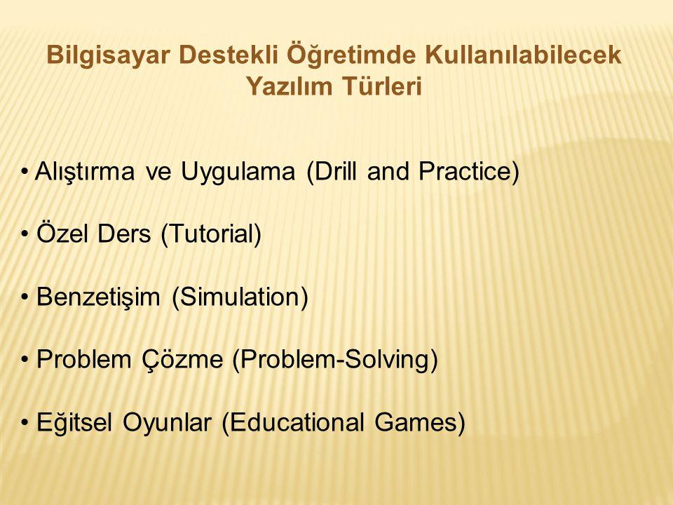Bilgisayar Destekli Öğretimde Kullanılabilecek Yazılım Türleri Alıştırma ve Uygulama (Drill and Practice) Özel Ders (Tutorial) Benzetişim (Simulation)
