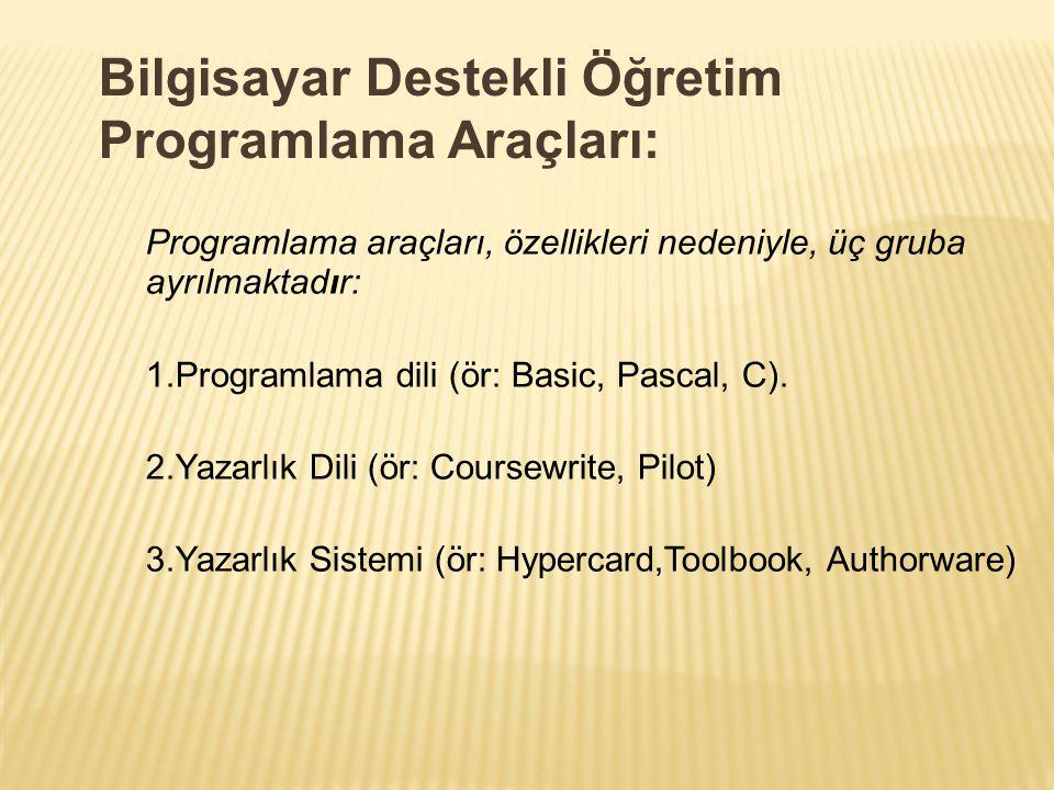 Programlama araçları, özellikleri nedeniyle, üç gruba ayrılmaktadır: 1.Programlama dili (ör: Basic, Pascal, C). 2.Yazarlık Dili (ör: Coursewrite, Pilo