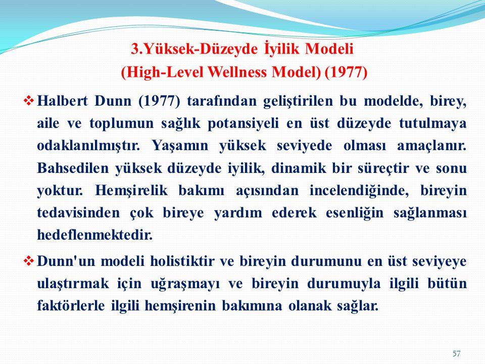 3.Yüksek-Düzeyde İyilik Modeli (High-Level Wellness Model) (1977)  Halbert Dunn (1977) tarafından geliştirilen bu modelde, birey, aile ve toplumun sa