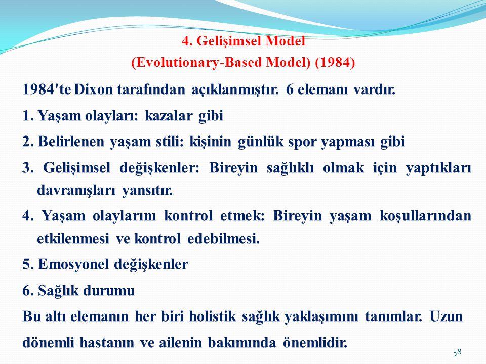 4. Gelişimsel Model (Evolutionary-Based Model) (1984) 1984'te Dixon tarafından açıklanmıştır. 6 elemanı vardır. 1. Yaşam olayları: kazalar gibi 2. Bel