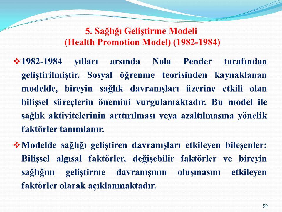 5. Sağlığı Geliştirme Modeli (Health Promotion Model) (1982-1984)  1982-1984 yılları arsında Nola Pender tarafından geliştirilmiştir. Sosyal öğrenme