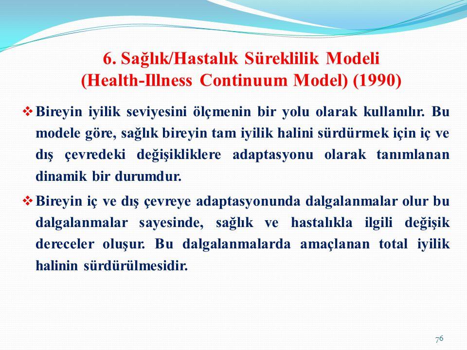 6. Sağlık/Hastalık Süreklilik Modeli (Health-Illness Continuum Model) (1990)  Bireyin iyilik seviyesini ölçmenin bir yolu olarak kullanılır. Bu model