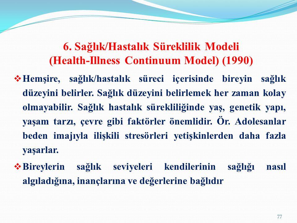 6. Sağlık/Hastalık Süreklilik Modeli (Health-Illness Continuum Model) (1990)  Hemşire, sağlık/hastalık süreci içerisinde bireyin sağlık düzeyini beli