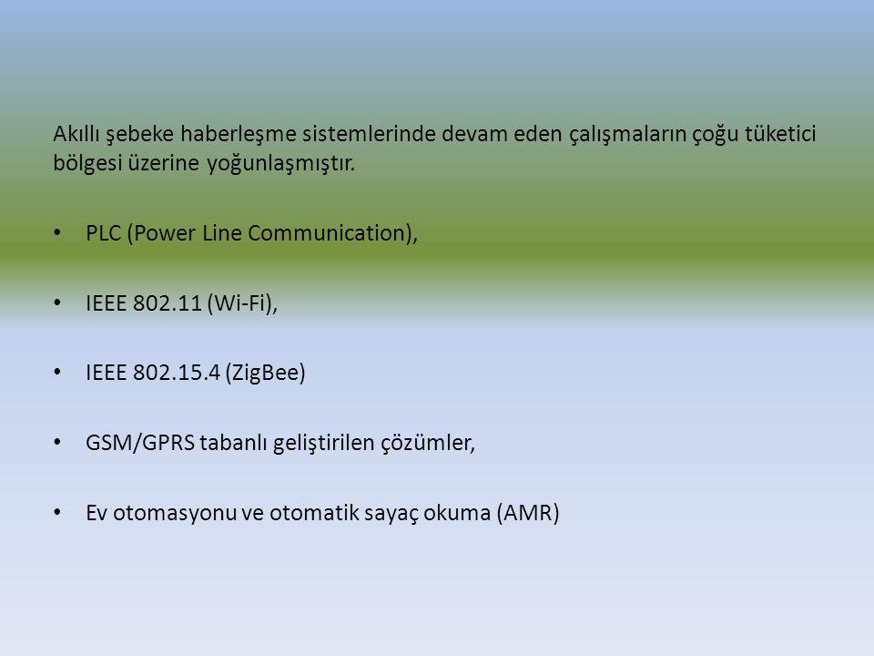 Akıllı şebeke haberleşme sistemlerinde devam eden çalışmaların çoğu tüketici bölgesi üzerine yoğunlaşmıştır. PLC (Power Line Communication), IEEE 802.