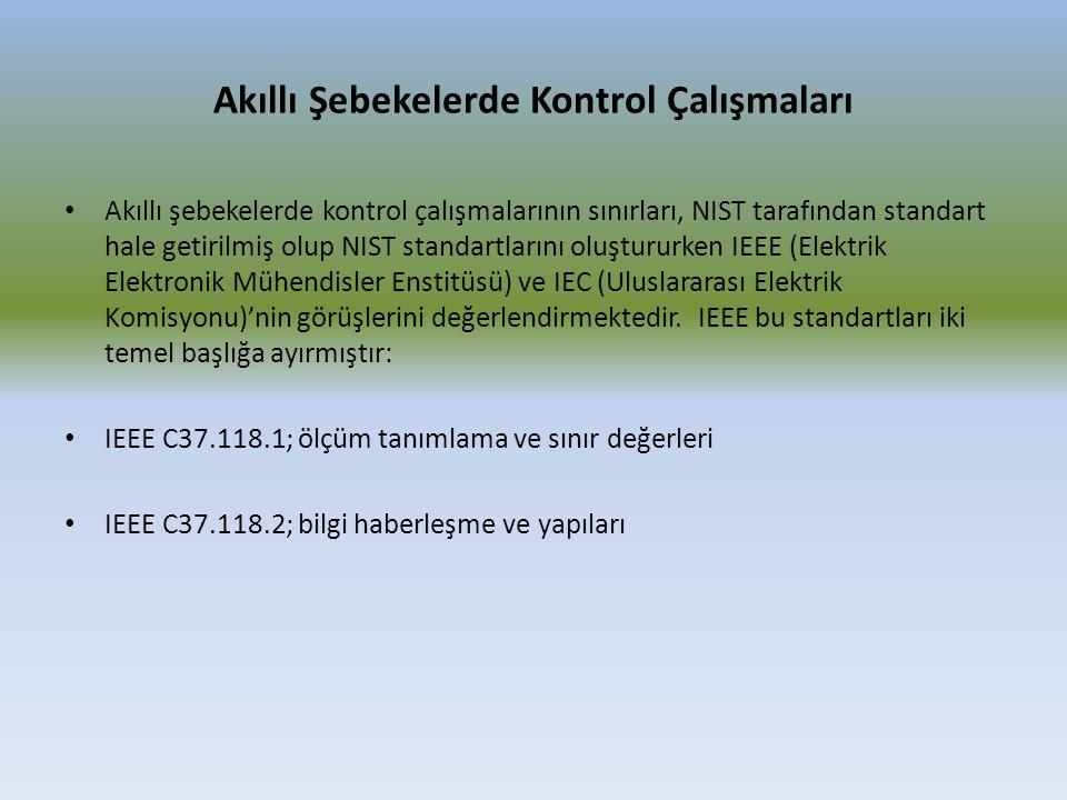 Akıllı Şebekelerde Kontrol Çalışmaları Akıllı şebekelerde kontrol çalışmalarının sınırları, NIST tarafından standart hale getirilmiş olup NIST standar