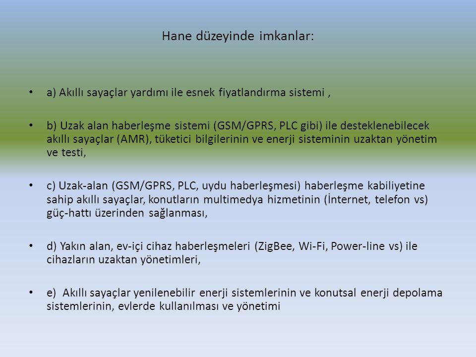 Hane düzeyinde imkanlar: a) Akıllı sayaçlar yardımı ile esnek fiyatlandırma sistemi, b) Uzak alan haberleşme sistemi (GSM/GPRS, PLC gibi) ile destekle