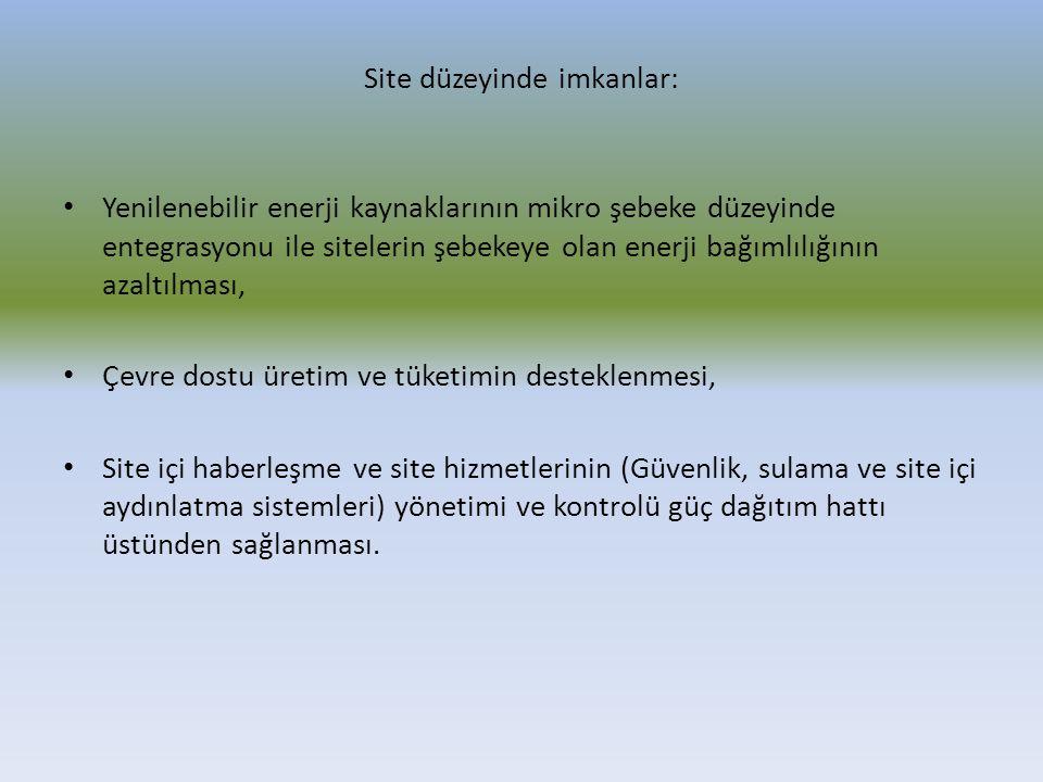 Site düzeyinde imkanlar: Yenilenebilir enerji kaynaklarının mikro şebeke düzeyinde entegrasyonu ile sitelerin şebekeye olan enerji bağımlılığının azal
