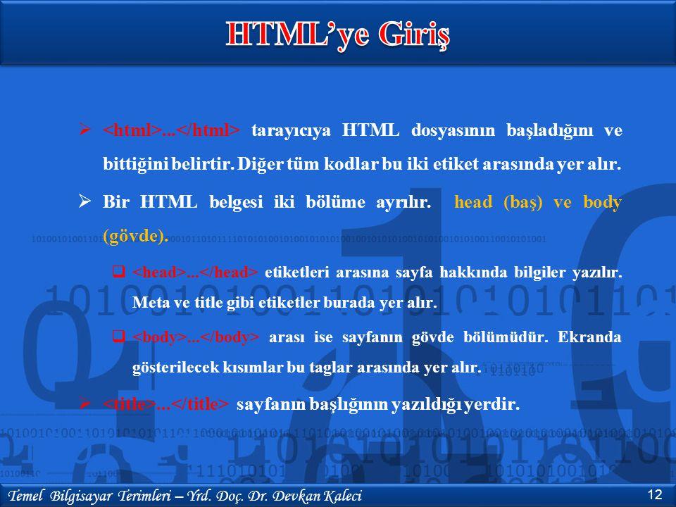... tarayıcıya HTML dosyasının başladığını ve bittiğini belirtir. Diğer tüm kodlar bu iki etiket arasında yer alır.  Bir HTML belgesi iki bölüme ayr