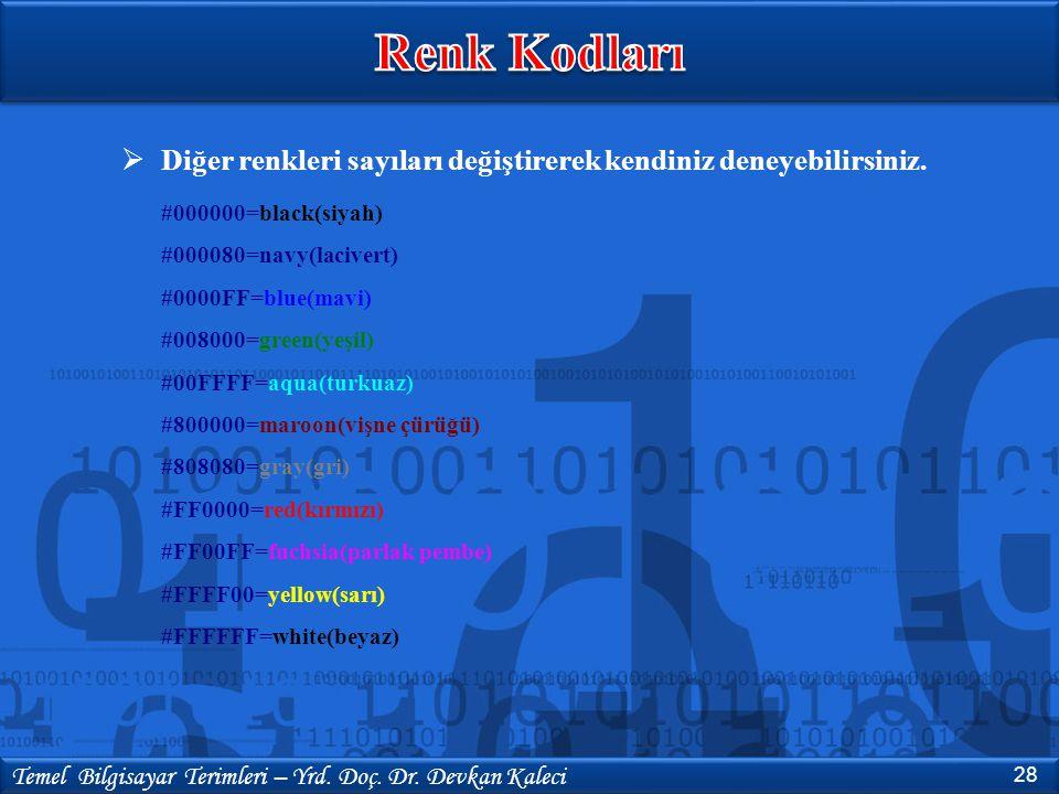 28 Temel Bilgisayar Terimleri – Yrd. Doç. Dr. Devkan Kaleci  Diğer renkleri sayıları değiştirerek kendiniz deneyebilirsiniz. #000000=black(siyah) #00