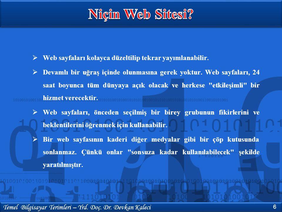  Sitenin yayınlanacağı bir Host  Sitede yayınlanacak sayfalar  Hazırlanılan sayfanın tipine uygun yazı, resim yada diğer animasyonlar.