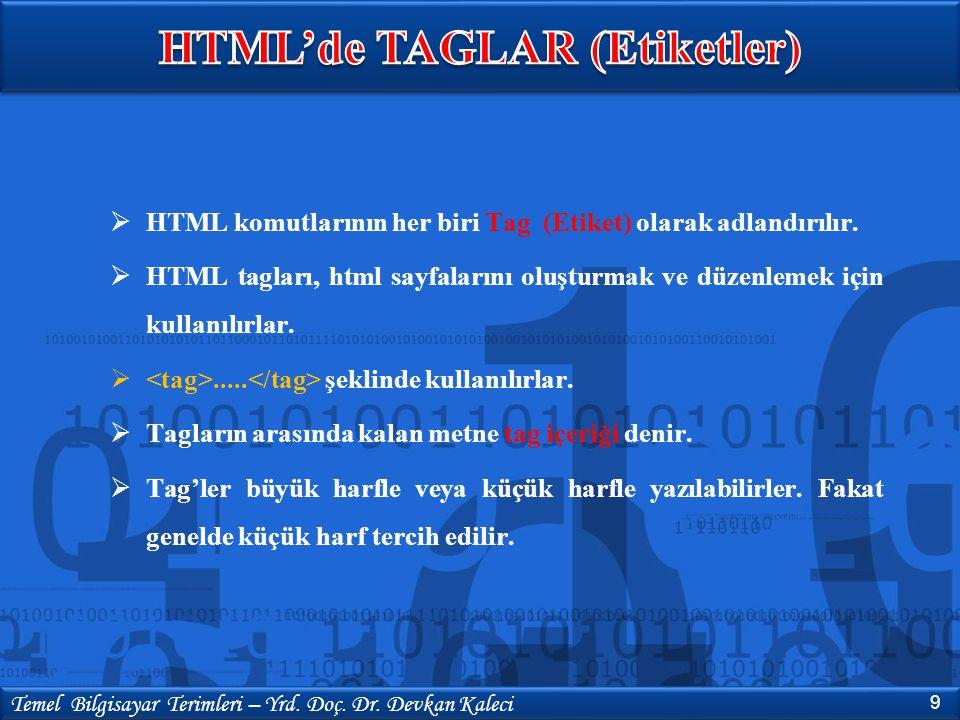  HTML komutlarının her biri Tag (Etiket) olarak adlandırılır.  HTML tagları, html sayfalarını oluşturmak ve düzenlemek için kullanılırlar. ..... şe
