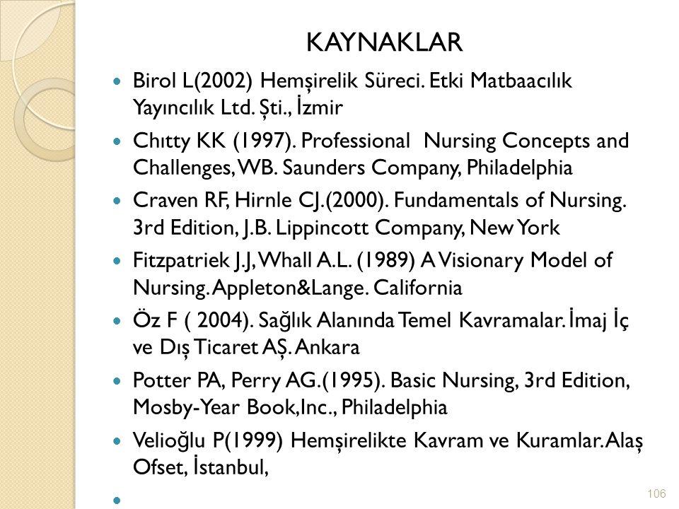 KAYNAKLAR Birol L(2002) Hemşirelik Süreci. Etki Matbaacılık Yayıncılık Ltd. Şti., İ zmir Chıtty KK (1997). Professional Nursing Concepts and Challenge