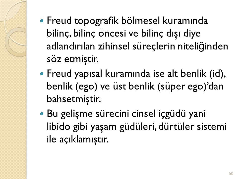 Freud topografik bölmesel kuramında bilinç, bilinç öncesi ve bilinç dışı diye adlandırılan zihinsel süreçlerin niteli ğ inden söz etmiştir. Freud yapı