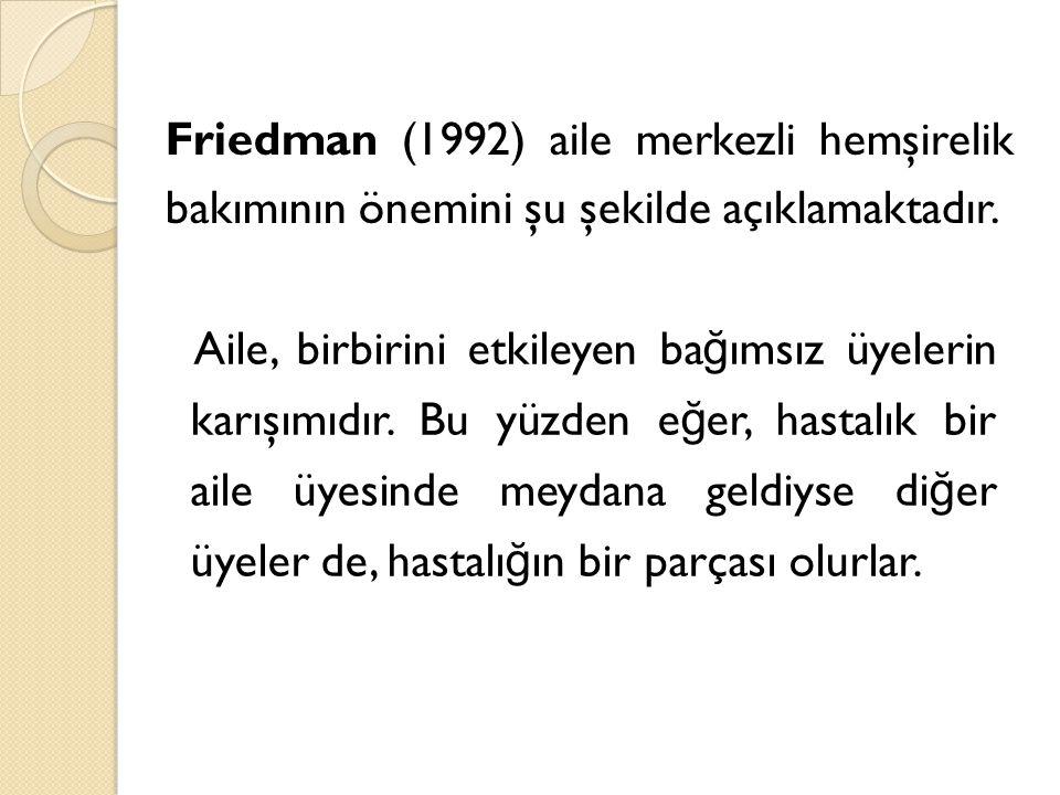 Friedman (1992) aile merkezli hemşirelik bakımının önemini şu şekilde açıklamaktadır. Aile, birbirini etkileyen ba ğ ımsız üyelerin karışımıdır. Bu yü