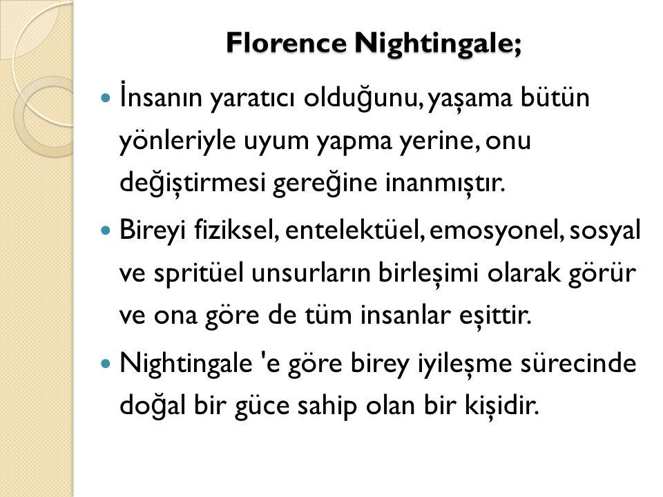 Florence Nightingale; İ nsanın yaratıcı oldu ğ unu, yaşama bütün yönleriyle uyum yapma yerine, onu de ğ iştirmesi gere ğ ine inanmıştır. Bireyi fiziks