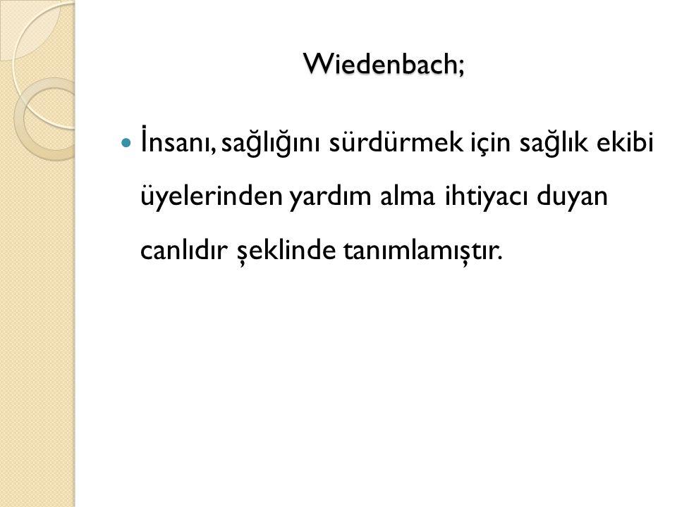 Wiedenbach; İ nsanı, sa ğ lı ğ ını sürdürmek için sa ğ lık ekibi üyelerinden yardım alma ihtiyacı duyan canlıdır şeklinde tanımlamıştır.