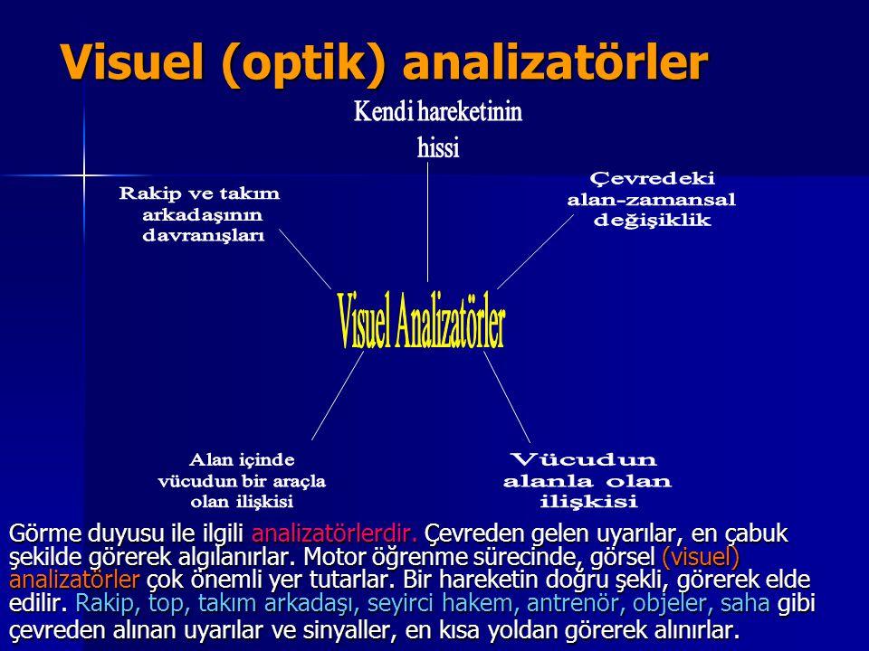 Visuel (optik) analizatörler Görme duyusu ile ilgili analizatörlerdir. Çevreden gelen uyarılar, en çabuk şekilde görerek algılanırlar. Motor öğrenme s