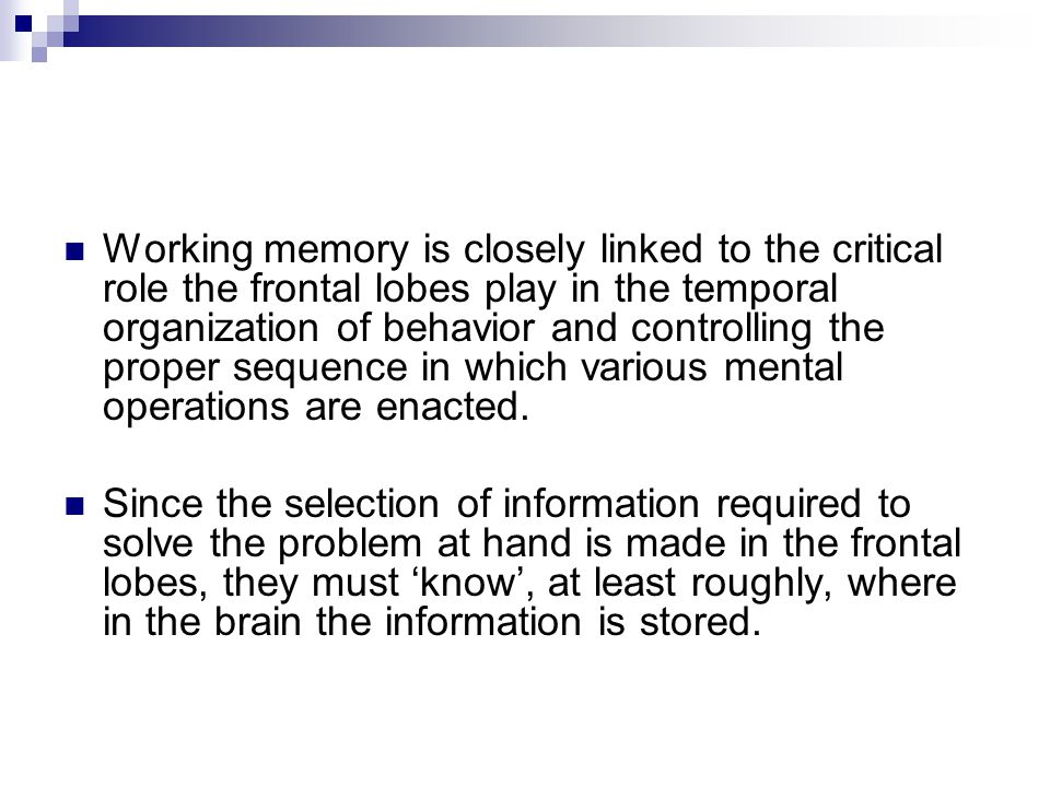 Working memory is closely linked to the critical role the frontal lobes play in the temporal organization of behavior and controlling the proper sequence in which various mental operations are enacted.