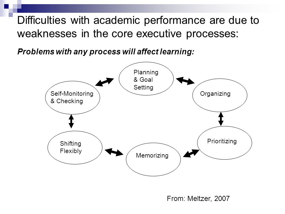 Difficulties with academic performance are due to weaknesses in the core executive processes: Problems with any process will affect learning: Planning & Goal Setting Organizing Prioritizing Memorizing Self-Monitoring & Checking Shifting Flexibly From: Meltzer, 2007