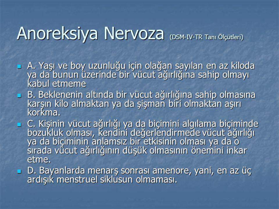 Anoreksiya Nervoza (DSM-IV-TR Tanı Ölçütleri) A. Yaşı ve boy uzunluğu için olağan sayılan en az kiloda ya da bunun üzerinde bir vücut ağırlığına sahip