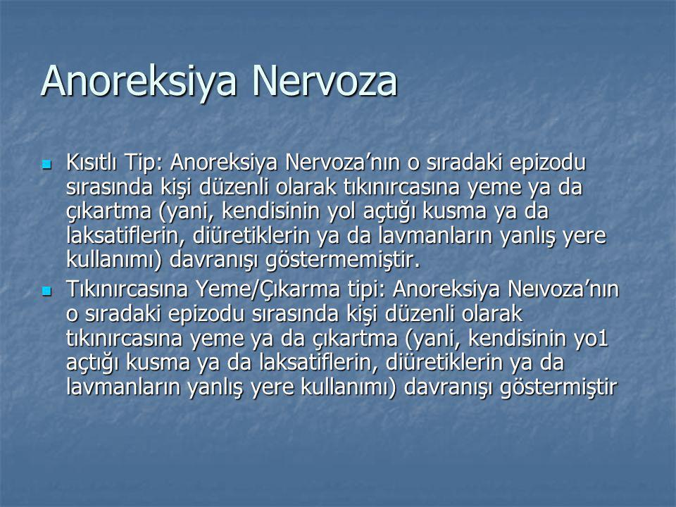 Anoreksiya Nervoza Kısıtlı Tip: Anoreksiya Nervoza'nın o sıradaki epizodu sırasında kişi düzenli olarak tıkınırcasına yeme ya da çıkartma (yani, kendisinin yol açtığı kusma ya da laksatiflerin, diüretiklerin ya da lavmanların yanlış yere kullanımı) davranışı göstermemiştir.
