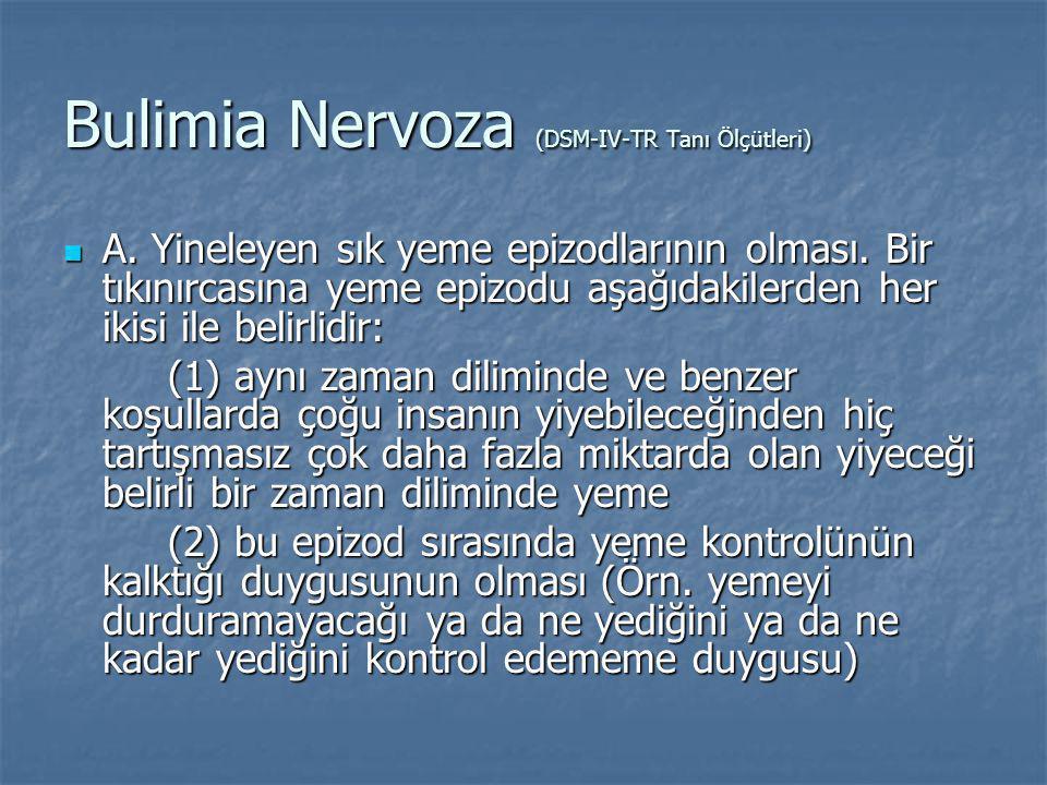 Bulimia Nervoza (DSM-IV-TR Tanı Ölçütleri) A.Yineleyen sık yeme epizodlarının olması.