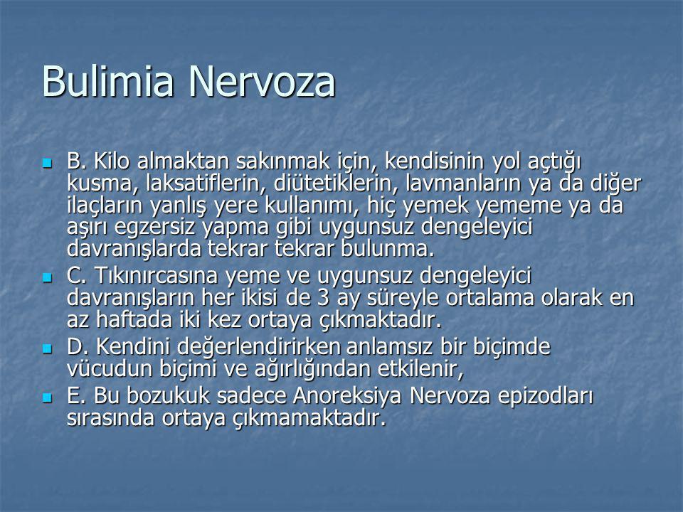Bulimia Nervoza B. Kilo almaktan sakınmak için, kendisinin yol açtığı kusma, laksatiflerin, diütetiklerin, lavmanların ya da diğer ilaçların yanlış ye
