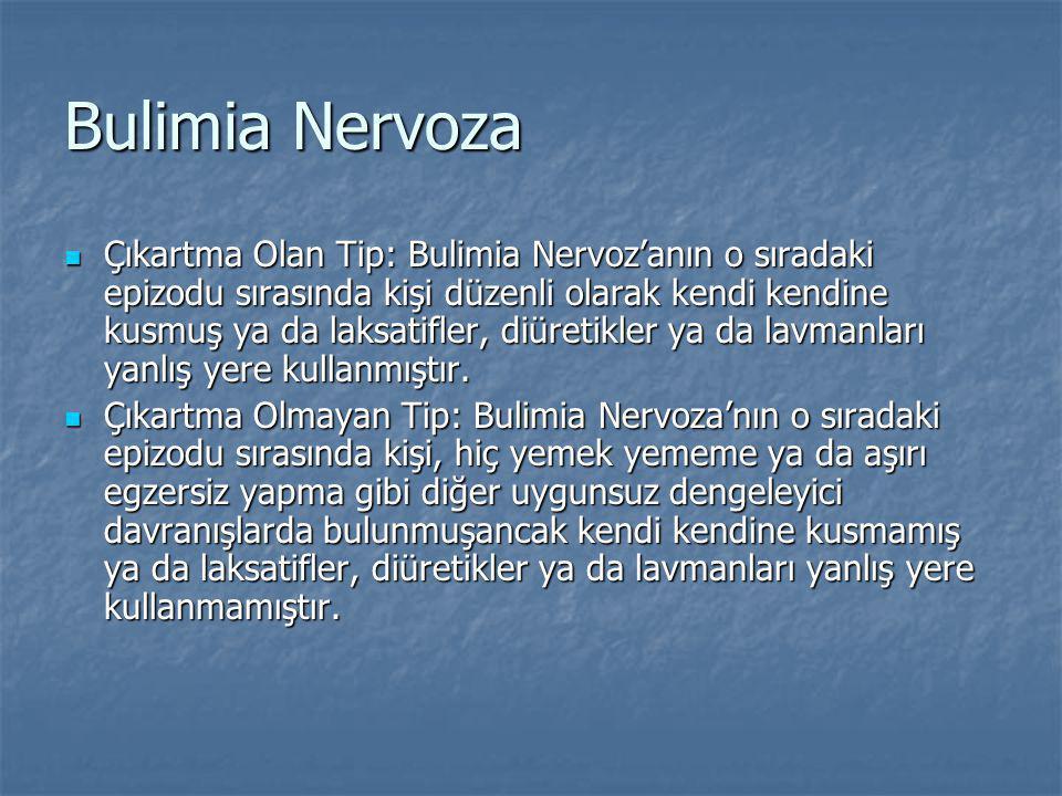 Bulimia Nervoza Çıkartma Olan Tip: Bulimia Nervoz'anın o sıradaki epizodu sırasında kişi düzenli olarak kendi kendine kusmuş ya da laksatifler, diüretikler ya da lavmanları yanlış yere kullanmıştır.