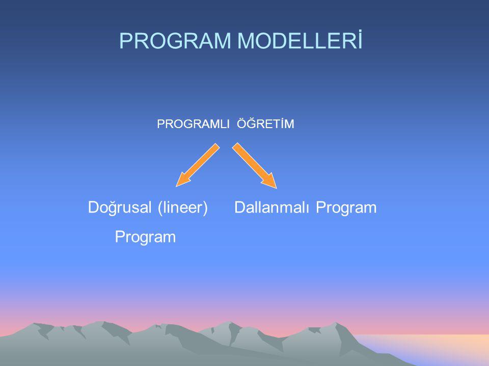 PROGRAM MODELLERİ Doğrusal (lineer) Program Dallanmalı Program PROGRAMLI ÖĞRETİM