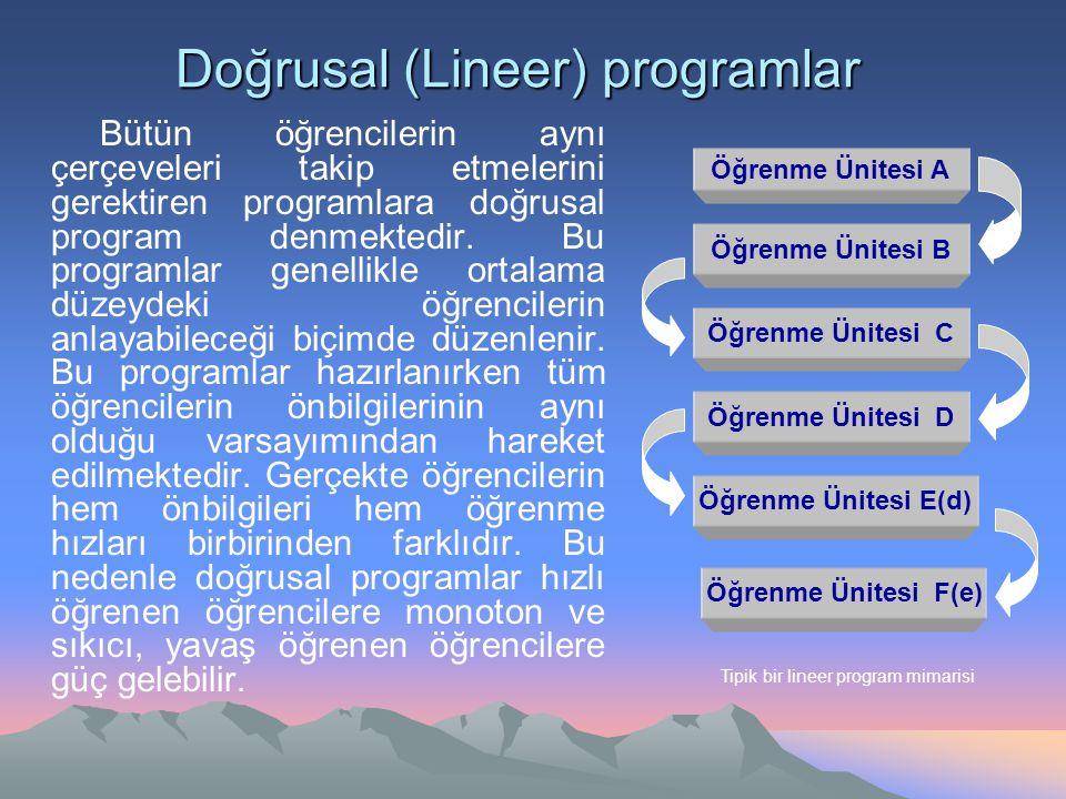 Doğrusal (Lineer) programlar Öğrenme Ünitesi A Öğrenme Ünitesi B Öğrenme Ünitesi C Öğrenme Ünitesi D Öğrenme Ünitesi E(d) Öğrenme Ünitesi F(e) Tipik b
