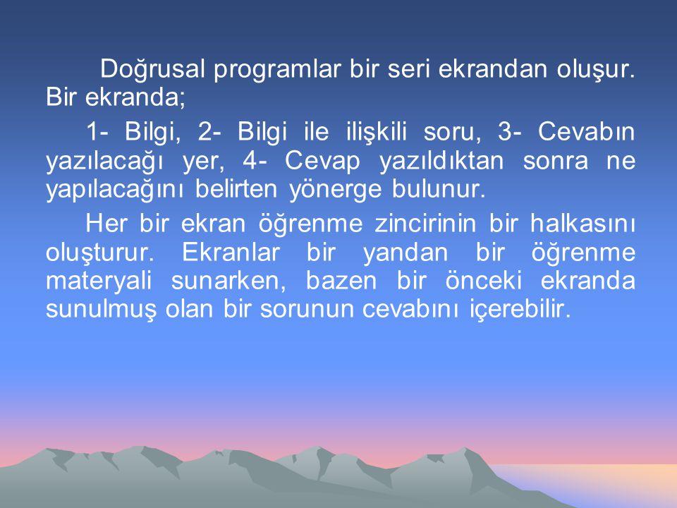 Doğrusal programlar bir seri ekrandan oluşur. Bir ekranda; 1- Bilgi, 2- Bilgi ile ilişkili soru, 3- Cevabın yazılacağı yer, 4- Cevap yazıldıktan sonra