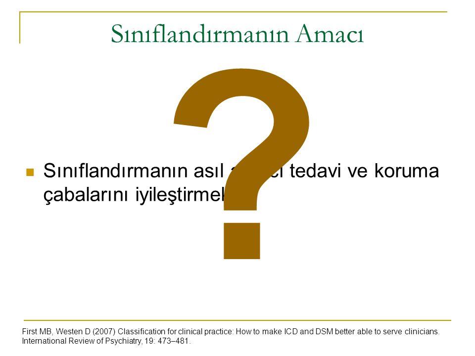 Sınıflandırmanın Amacı Sınıflandırmanın asıl amacı tedavi ve koruma çabalarını iyileştirmektir. First MB, Westen D (2007) Classification for clinical