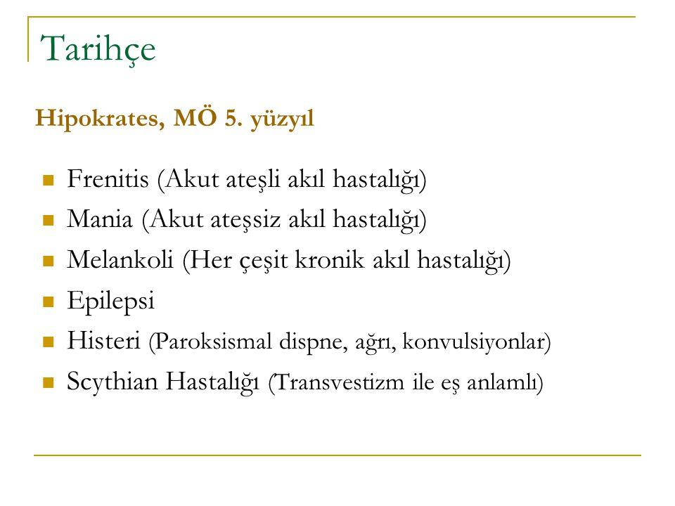 Tarihçe Frenitis (Akut ateşli akıl hastalığı) Mania (Akut ateşsiz akıl hastalığı) Melankoli (Her çeşit kronik akıl hastalığı) Epilepsi Histeri (Paroks