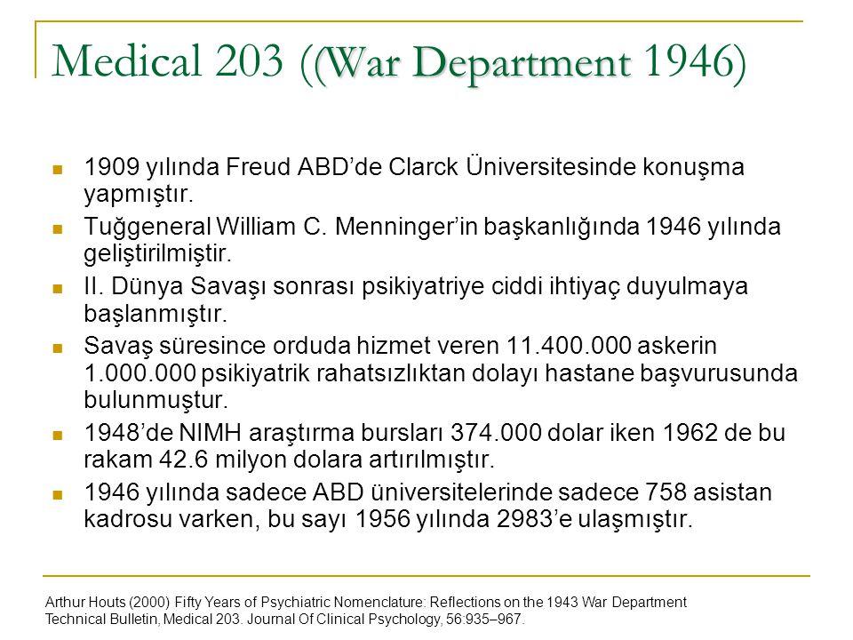 (War Department Medical 203 ( (War Department 1946) 1909 yılında Freud ABD'de Clarck Üniversitesinde konuşma yapmıştır. Tuğgeneral William C. Menninge
