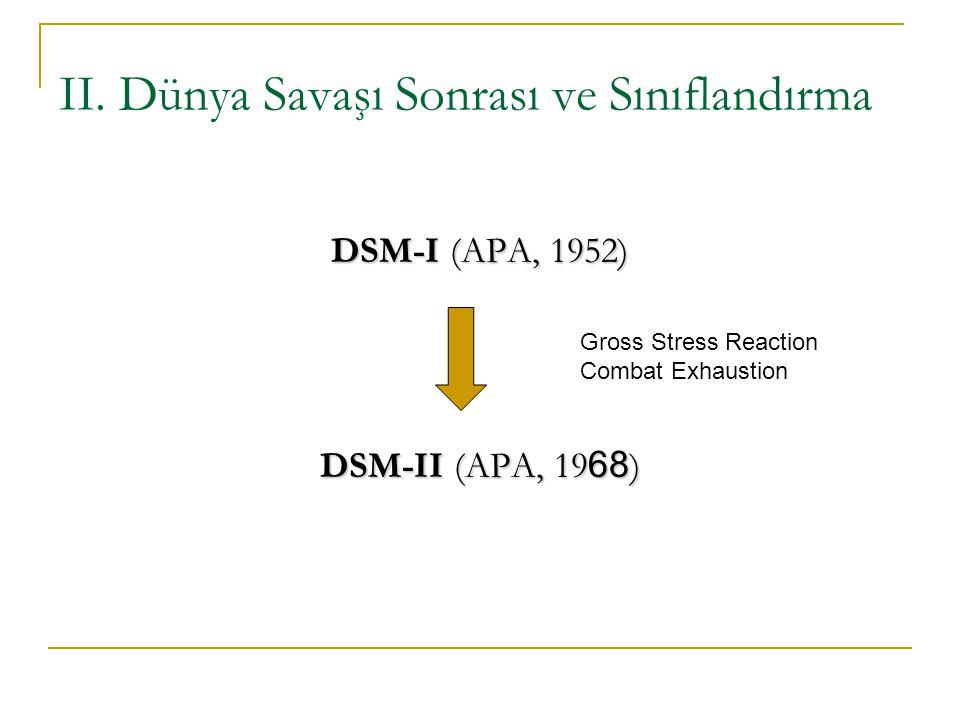 II. Dünya Savaşı Sonrası ve Sınıflandırma DSM-I (APA, 1952) DSM-II (APA, 19 68 ) Gross Stress Reaction Combat Exhaustion
