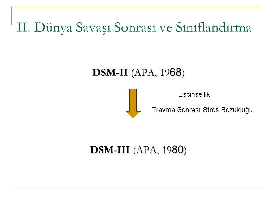 II. Dünya Savaşı Sonrası ve Sınıflandırma DSM-II (APA, 19 68 ) DSM-III (APA, 19 80 ) Eşcinsellik Travma Sonrası Stres Bozukluğu